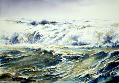 """ Turbulent Waters "" (BILBOV.(Lorus Maver)) Tags: light seascape storm art water contrast painting artwork scenic watercolour luminosity lorusmaverbilbov lorusmaver"