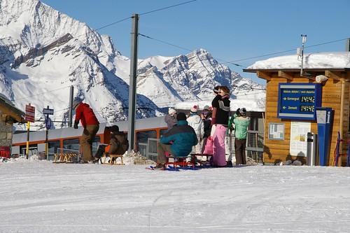 許多人都要用雪橇滑下山