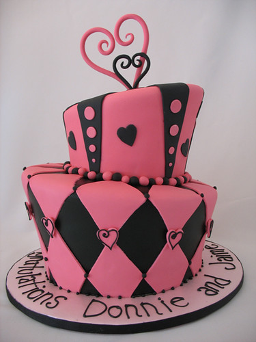 Pink & Black Topsy Turvy Cake