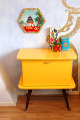 yellow cabinet (ATLITW) Tags: colour home yellow vintage cabinet retro eclectic homedecor tins thrifted