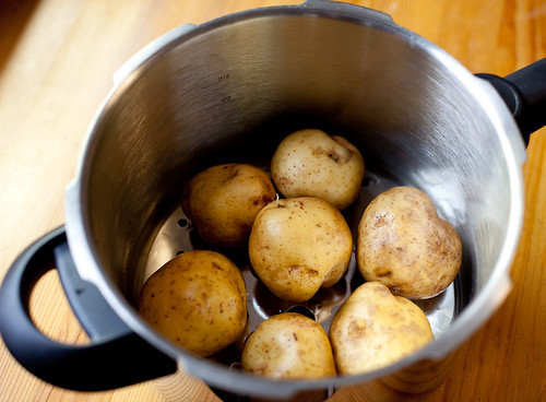 Potatoes in pressure cooker