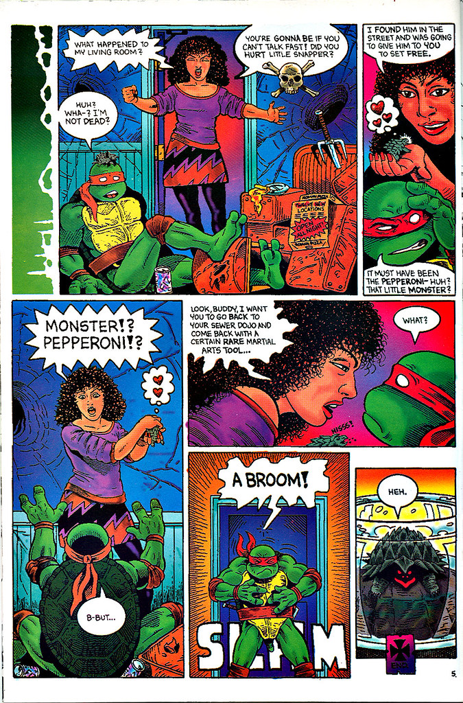 """Raphael : Snapper""   by Rick McCollum  with Tom Anderson and Peter Laird  { Turtle Soup #2 } pg.5  (( December 1991 ))"