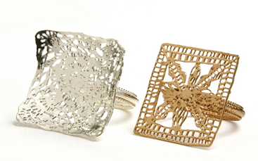 armor square lace ring