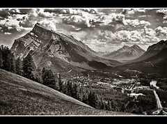 A View From The Mount Norquay Road (Glenbourne At Home) Tags: blackandwhite canada mountains monochrome sepia rockies alberta banff bowriver mountrundle banffnationalpark toning bowvalley abigfave anawesomeshot impressedbeauty aplusphoto citrit vosplusbellesphotos aviewofmountnorquay