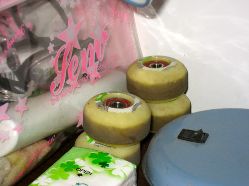 The old wheels of my skateboard