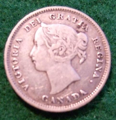 CANADA, QUEEN VICTORIA 1893 SILVER 5 CENT COIN a