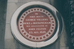Photo of George Villiers and John Felton brown plaque