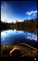 i would love to jump in (schoebs) Tags: wood reflection nature water clouds canon landscape eos rocks hamburg sigma wideangle 1020mm hdr borders 40d