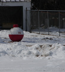 A bobber propane tank in somebody's front yard