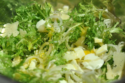 Frisée salad w/ linguiça, serra, egg, and roasted galic dressing