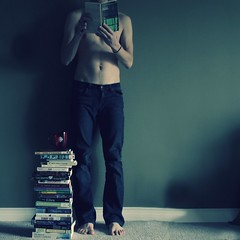 It Just Keeps Building Itself Higher (Boy_Wonder) Tags: shirtless feet coffee canon square joel books jeans inside 365 trp selfiesquared