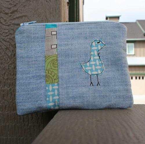 Patchwork birdie pouch