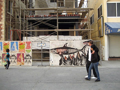 Shark Toof and Meow board walkin (smoke now cry later) Tags: streetart cat graffiti losangeles stencil screenprint wheatpaste cult venicebeach spraypaint bombing catcult sharktoof