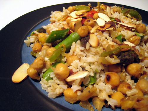 Nutty brown rice dinner.