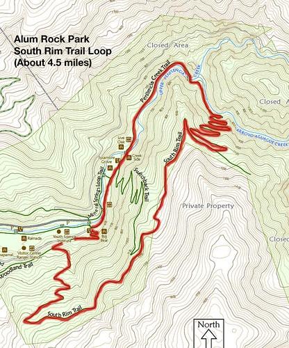 Alum Rock Park  hike map