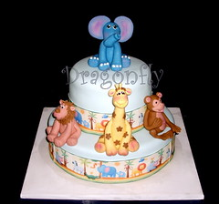 Jungle Baby Cake (Signature SugarArt) Tags: sugarart monkeycake babyshowercake elephantcake junglecake giraffecake circuscake lioncake dragonflycustomcakes terrigoodwin fondantfigurines