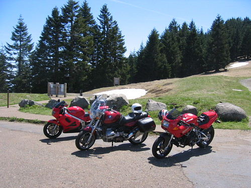 Honda VFR, Ducati 750SS, BMW 4 Valve at Mary's Peak after OVM Vintage Motorcycle Show Corvallis