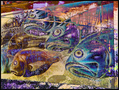 Fishy Mural (Tim Noonan) Tags: fish art digital photoshop fence reeds effects pond construction mural colours manipulation mosca treatment abigfave sharingart maxfudge awardtree maxfudgeexcellence maxfudgeawardandexcellencegroup daarklands selectbestfavorites