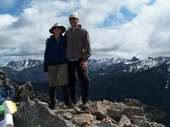 Us on the summit and views south.