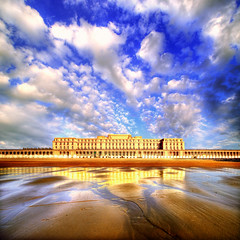 Thermae Palace (Dimitri Depaepe) Tags: sea reflection building beach water clouds evening sand oostende hdr ostend thermaepalace
