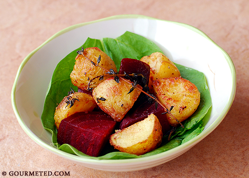 Oven Roasted Potatoes with Beets in Garlic-Lemon-Thyme Dressing