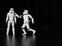 Changing Of The Guard (JD Hancock) Tags: bw favorite trooper reflection fun toy actionfigure star starwars interesting action stormtroopers explore cc figure scifi stormtrooper wars monday char thesecretlifeoftoys nogeo inkitchen 7daysofshooting monomonday jdhancock week50highcontrast
