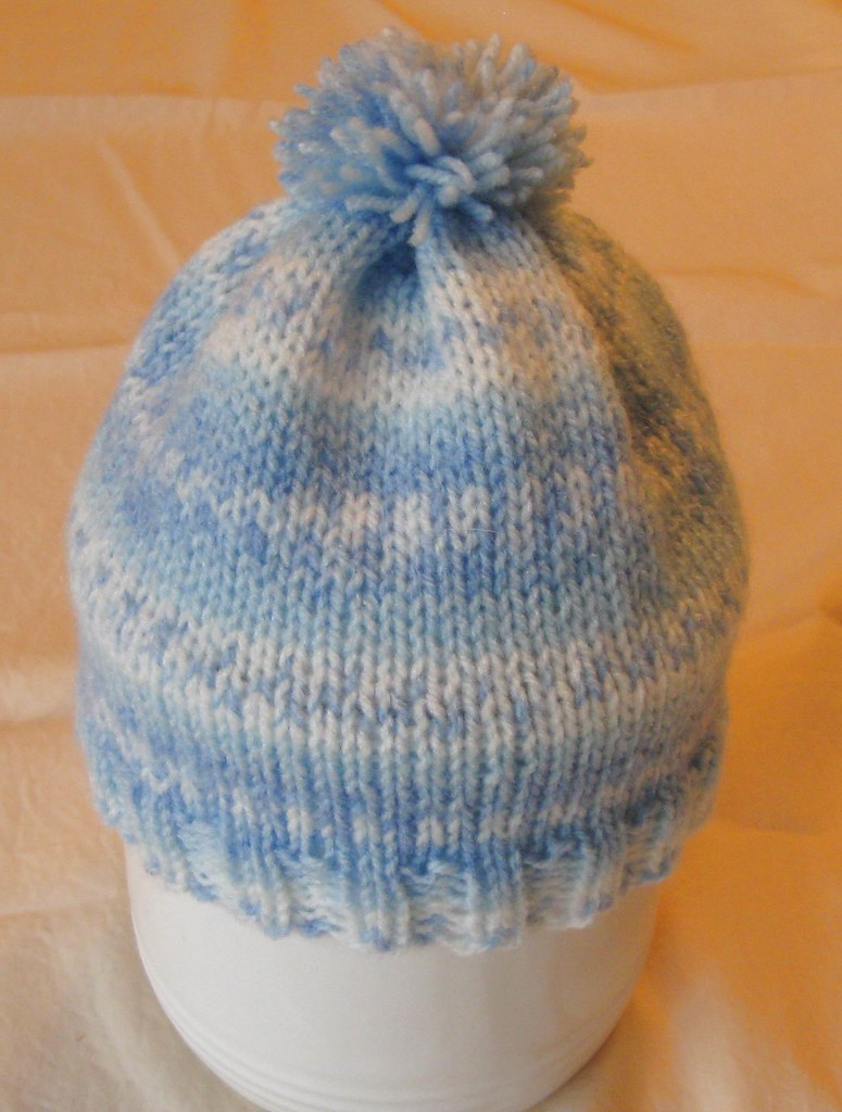 BABY HAT- Hand Knit- Blue- White
