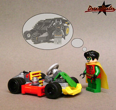 why always me with the little one?... (ZetoVince) Tags: robin car greek lego go vince batman vehicle kart heroes minifig cart blackrims zeto zetovince dreamdealer zetocart