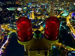 Japanese Colossus Robot Ears (Explored) (OzGFK) Tags: city red lamp bar night robot singapore asia cityhall cbd redlight boatquay redeyes canonpowershots90 1altitude japanesemonsterrobot onealtitude swisshotelstamford