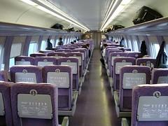 JR West 500 Series Nozomi Shinkansen (P F C 2) Tags: japan japanese cabin purple interior fast cybershot jr nippon comfort  shinkansen futuristic highspeed nozomi bullettrain tokaido 500series jrwest jr   japanrailways sonydscw300