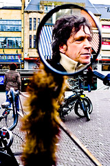 Man in the Mirror.... (zilverbat.) Tags: leica portrait urban man male glass face lumix glasses mirror close jan song candid spiegel snapshot streetlife streetscene panasonic bling portret puch sluitertijd michealjackson jcsuperstar vossestaart canadees lx3 zilverbat flikkah