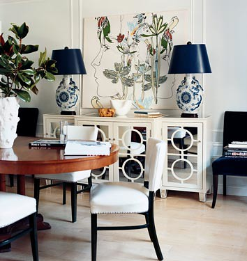 Modern elegant dining room: White mirrored buffet + wood + blue