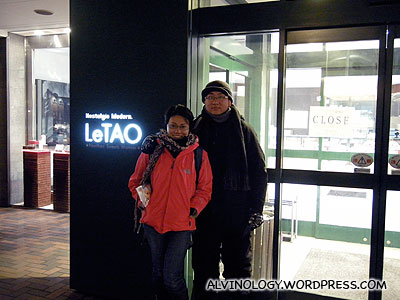Outside LeTao Chocolates flagship store in Hokkaido - its closed though!