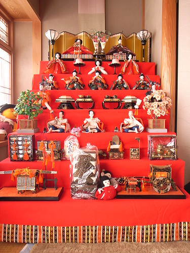Dolls displayed at the Girl's Festival.