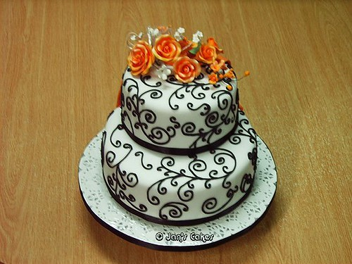 Black And Orange Wedding. Wedding Cake 2-tier B W n