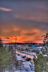 Isomäki 02 (MikeAncient) Tags: winter sunset sky snow building skyline architecture clouds finland landscape geotagged evening hdr mäntsälä cirrostratus tonemapped tonemap 3exp handheldhdr cumulushumilis
