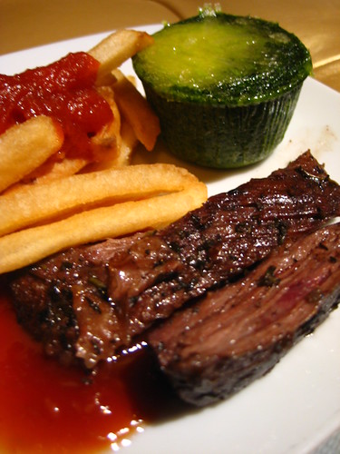 Steak, Fries, and Spinach Flan