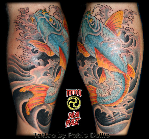 Blue Koi Tattoo by Pablo Dellic in Oslo Norway