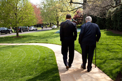 President Barack Obama and Senator Ted Kennedy walk on the grounds of the White House, before signing of the Kennedy Service Act at the SEED School in Washington D.C. 4/21/09. Official White House Photo by Pete Souza