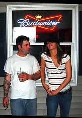 Bombardiers (James Riley Photography) Tags: woman man beer tattoo bar drink cigarette pack americana budweiser