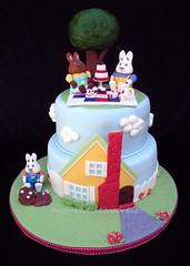 Max and Ruby tea party cake (jewelsb78(thefrostedcakencookie)) Tags: house tree clouds cakestand cupcakes sugar louise ladybug teapot mudcake teacup creamer teaparty maxandruby picnicblanket ladybugcake