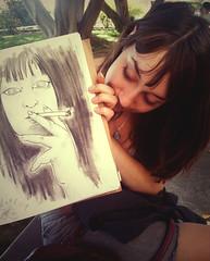 Tanita & Tanita (Michael Atallah) Tags: ca portrait girl sketch afternoon missionviejo orangecounty breeze tanitarosscady