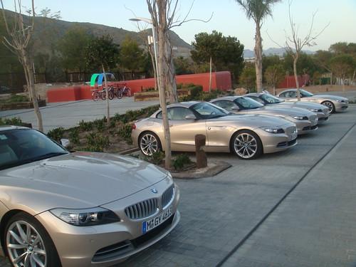 Detalle de la presentación del BMW Z4 en el aparcamiento del Hotel