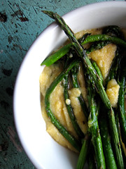 creamy polenta with roasted asparagus (you can count on me) Tags: dinner spring mush asparagus cheesey polenta cornmeal creamy roasted