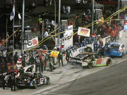 Junior leaving his pit stall