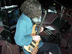 photo of solo bassist Steve Lawson soundchecking at the Royal Albert Hall, opening for Level 42 in 2002