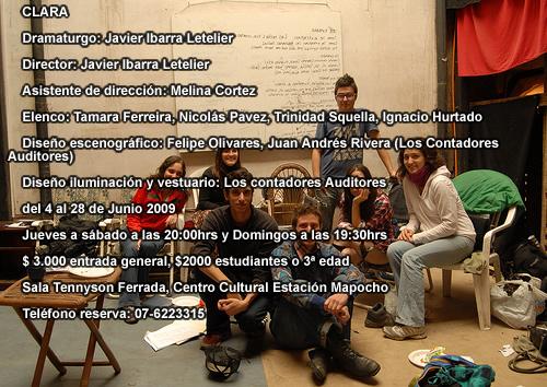 CLARA      Dramaturgo: Javier Ibarra Letelier       Director: Javier Ibarra Letelier