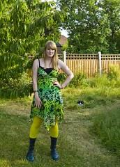 (evilibby) Tags: green girl wardroberemix garden squirrel human libby docs drmartens docmartens dms yellowtights greendms greenandyellowdress