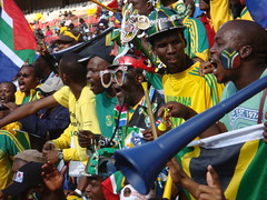 Fans cheering at the opening of the FIFA Confe...