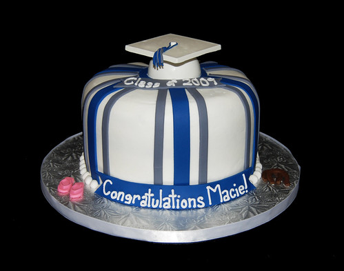 Blue and Gray Graduation Cake